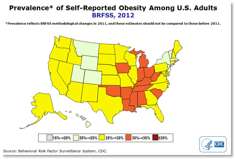Obesity CDC Map | Point of Blue on