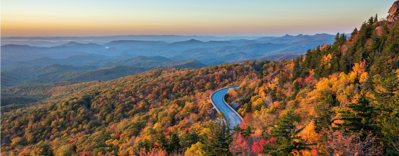 Fall foliage with horizon of North Carolina mountains