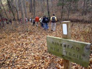 This 11.5-mile lollipop loop (starting from the trailhead off Tot Hill Road) probes some of the highest peaks in the Uwharrie National Forest. 7.4 miles from the Lassiter Mill Road trailhead.