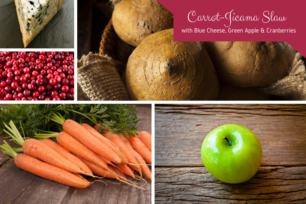Sweet Spring Recipe: Carrot-Jicama Slaw with Blue Cheese, Green Apple, & Cranberries