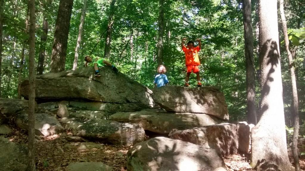 Corrie's kids hiking.