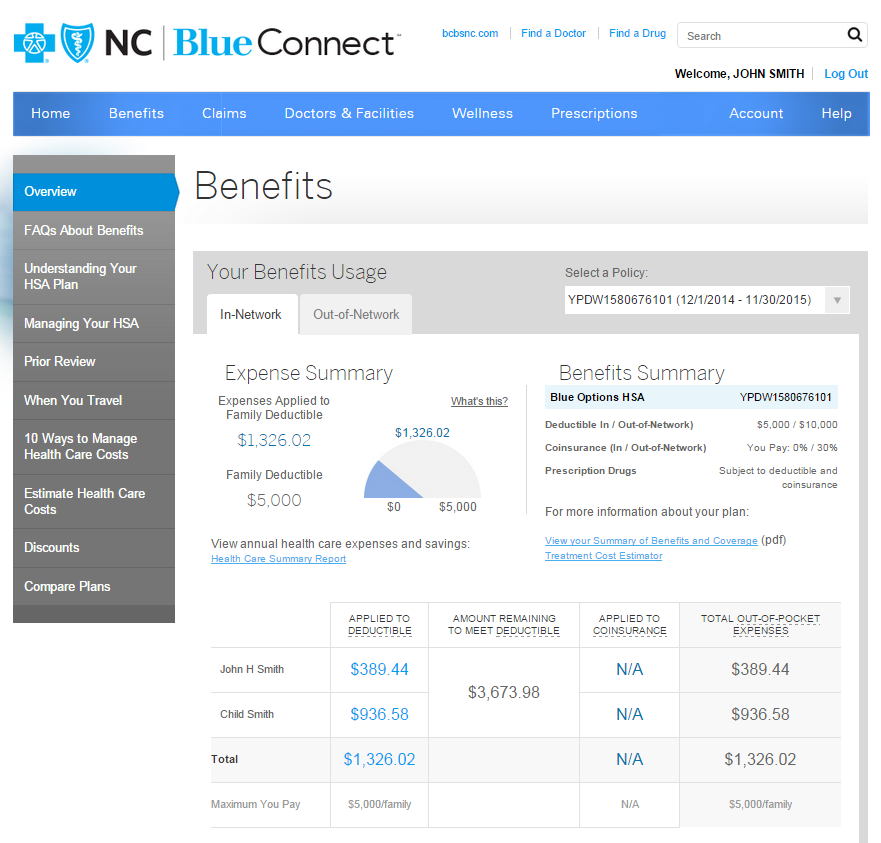 Benefits listed in Blue Connect.