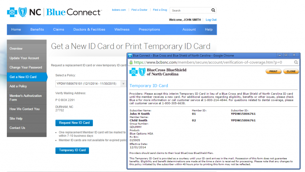 Printing a temporary card in Blue Connect.