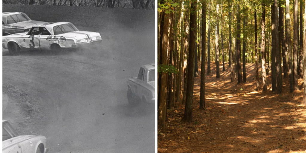 You could still squeeze a car through Turn 4, but the days of running three-wide are long gone. The Eno River is just yards away from this end of the track – a geography lesson that several drivers learned the hard way when they flew over the embankment and ended up in the drink.