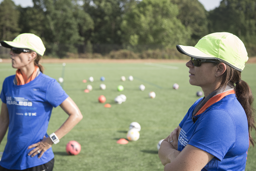 Mia on the field during the Live Fearless soccer camp this past summer.