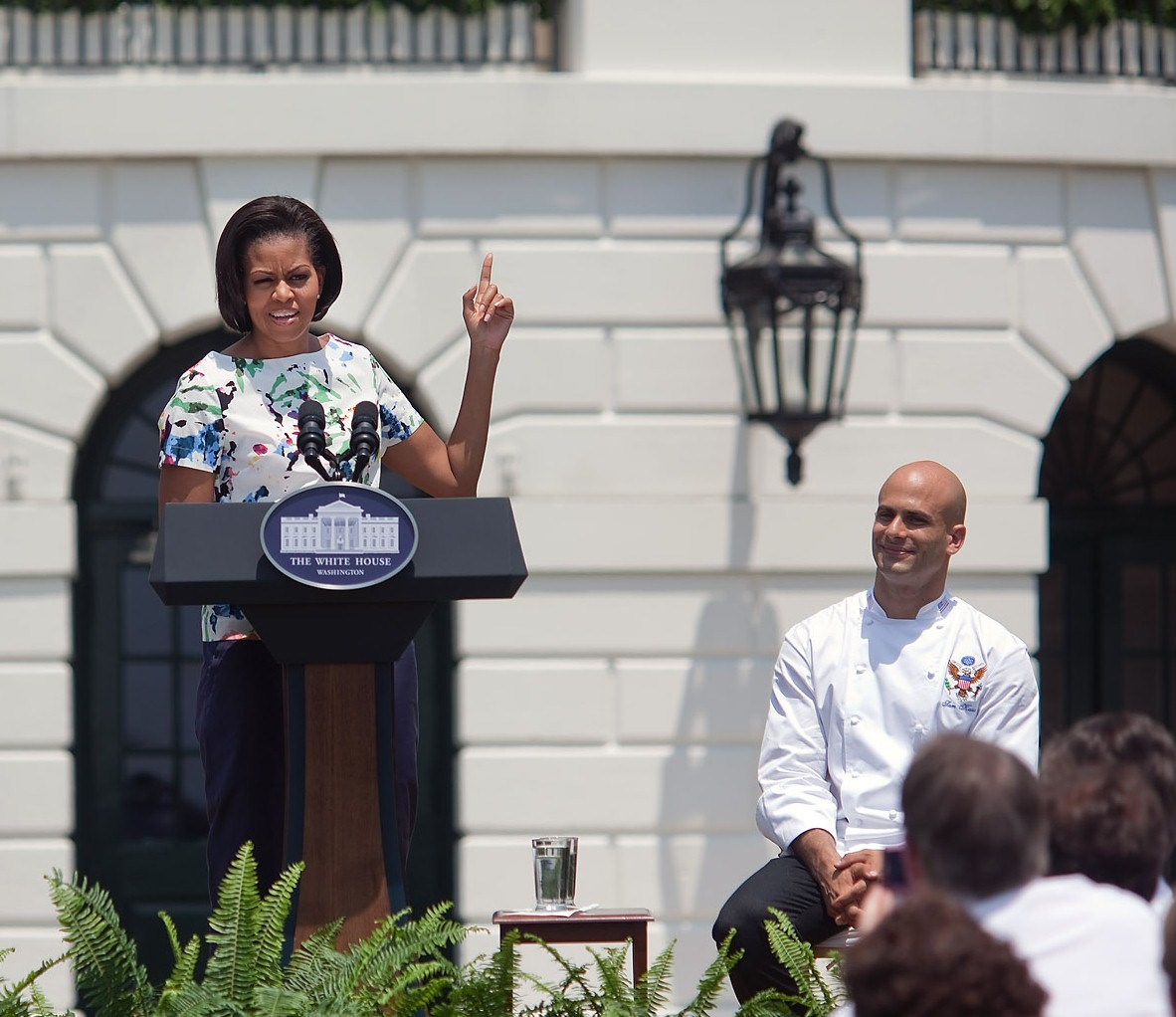 "First Lady Michelle Obama makes remarks at the ""Let's Move!"" chef's event on the South Lawn of the White House June 4, 2010. (Official White House Photo by Lawrence Jackson)"