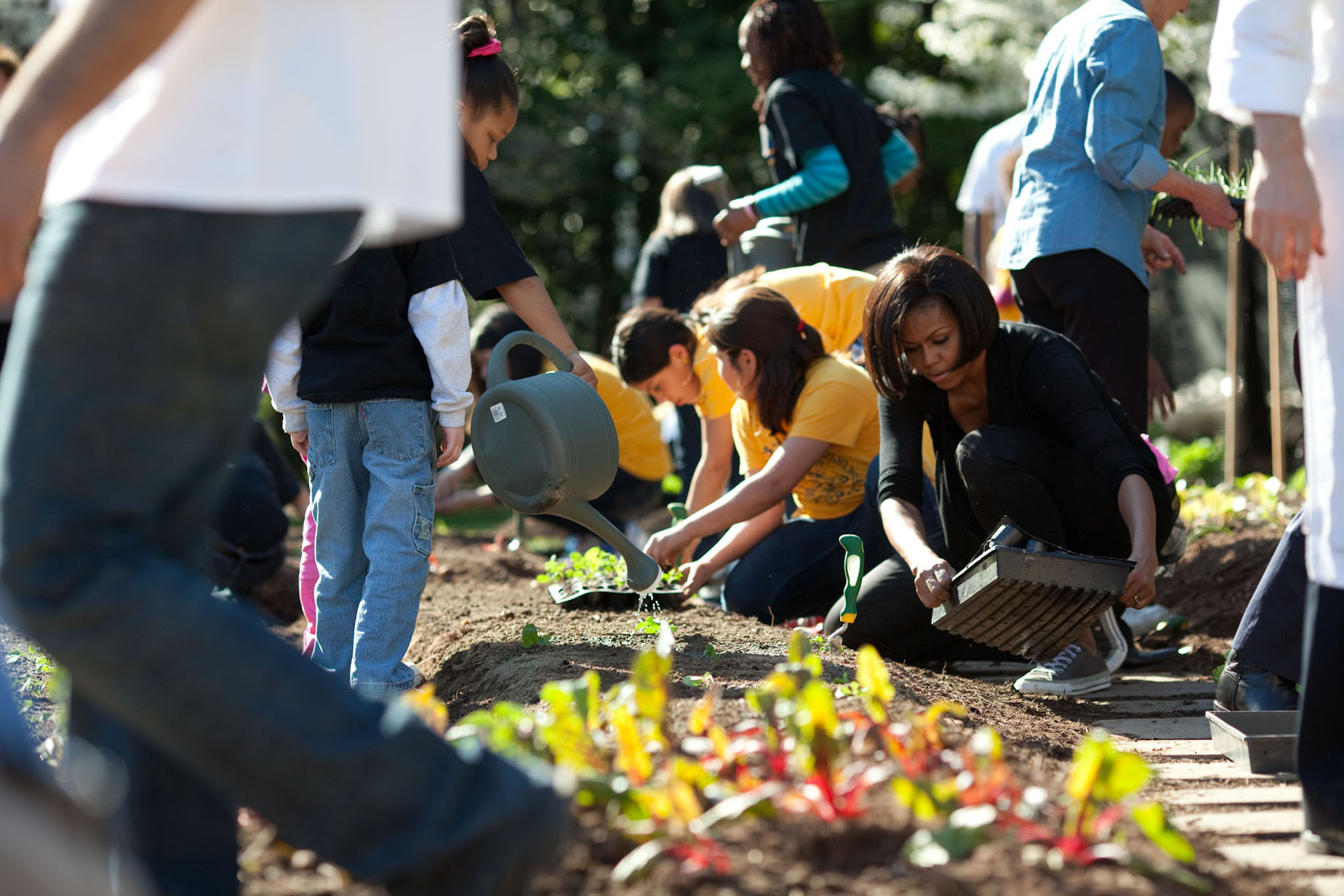 First Lady Michelle Obama participates in the Spring Garden Planting Event on the South Lawn of the White House March 31, 2010. (Official White House Photo by Lawrence Jackson) This official White House photograph is being made available only for publication by news organizations and/or for personal use printing by the subject(s) of the photograph. The photograph may not be manipulated in any way and may not be used in commercial or political materials, advertisements, emails, products, promotions that in any way suggests approval or endorsement of the President, the First Family, or the White House.