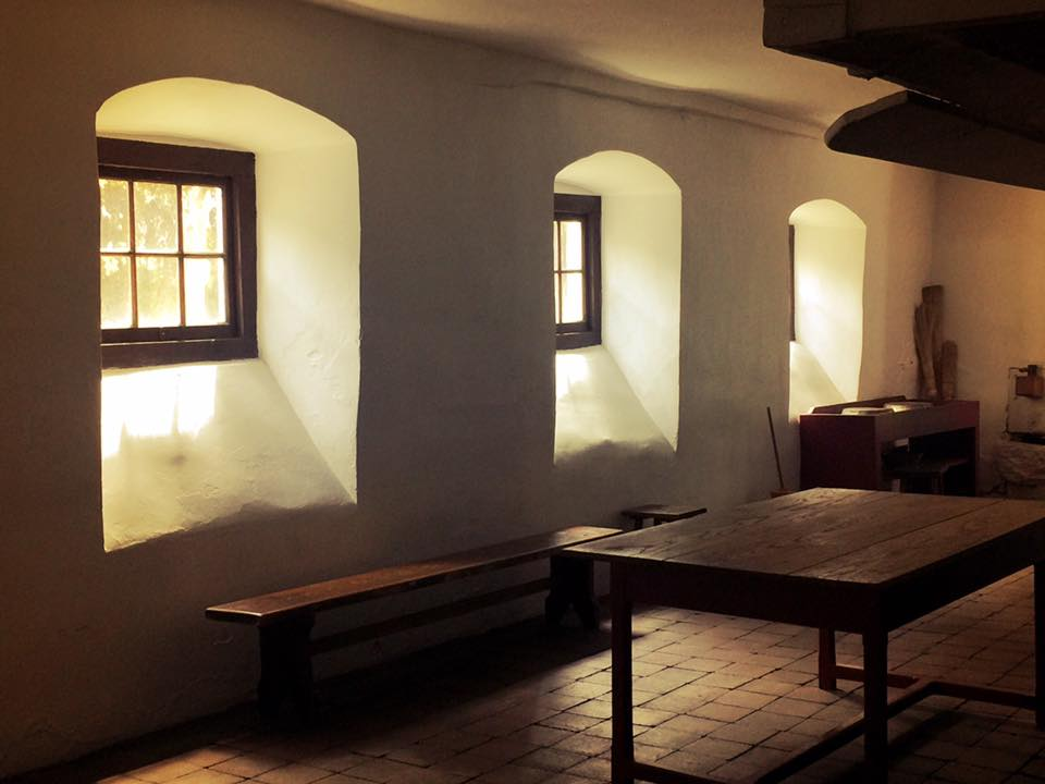 The dining area of the Single Brothers' House was beautifully spartan. With the pale lighting, you could even mistake this photo for an 18th-century painting.