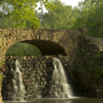 Stone Bridge and Waterfall in Reynolda Gardens in Winston-Salem NC