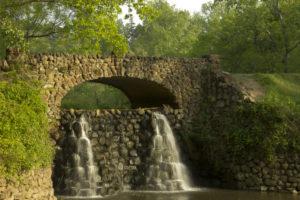 Stone Bridge and Waterfall in Reynolda Gardens in Winston-Salem NC