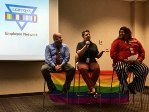 Members of our LGBTQ+A network answer employee questions during an Inclusion Challenge event.