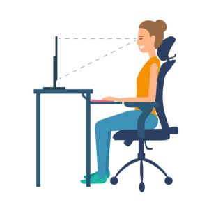 Graphic shows proper seated posture with eyes in line with top of monitor and elbows at a 90 degree angle