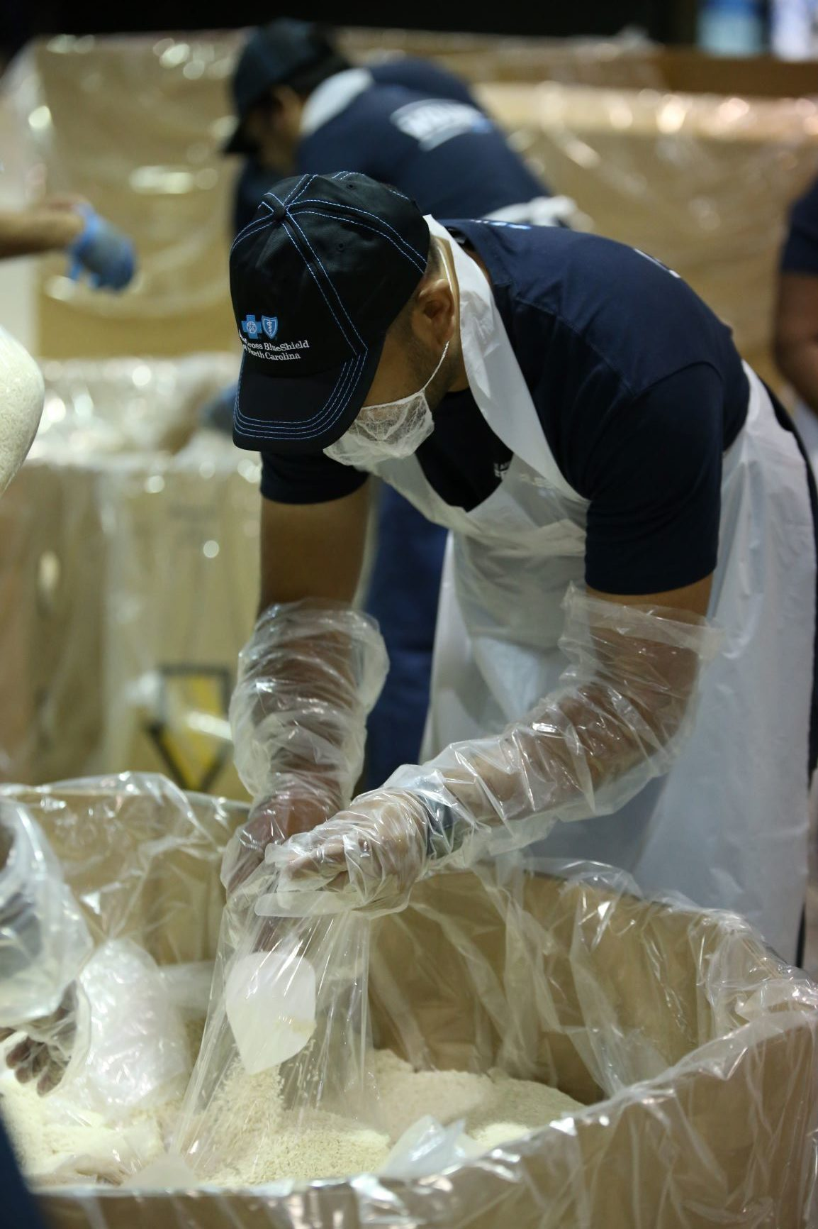 Blue Cross NC volunteer works at food bank