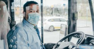 Plastic shield protects bus driver