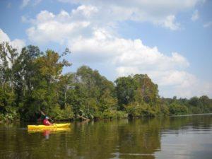 Man in yellow kayak paddles down river