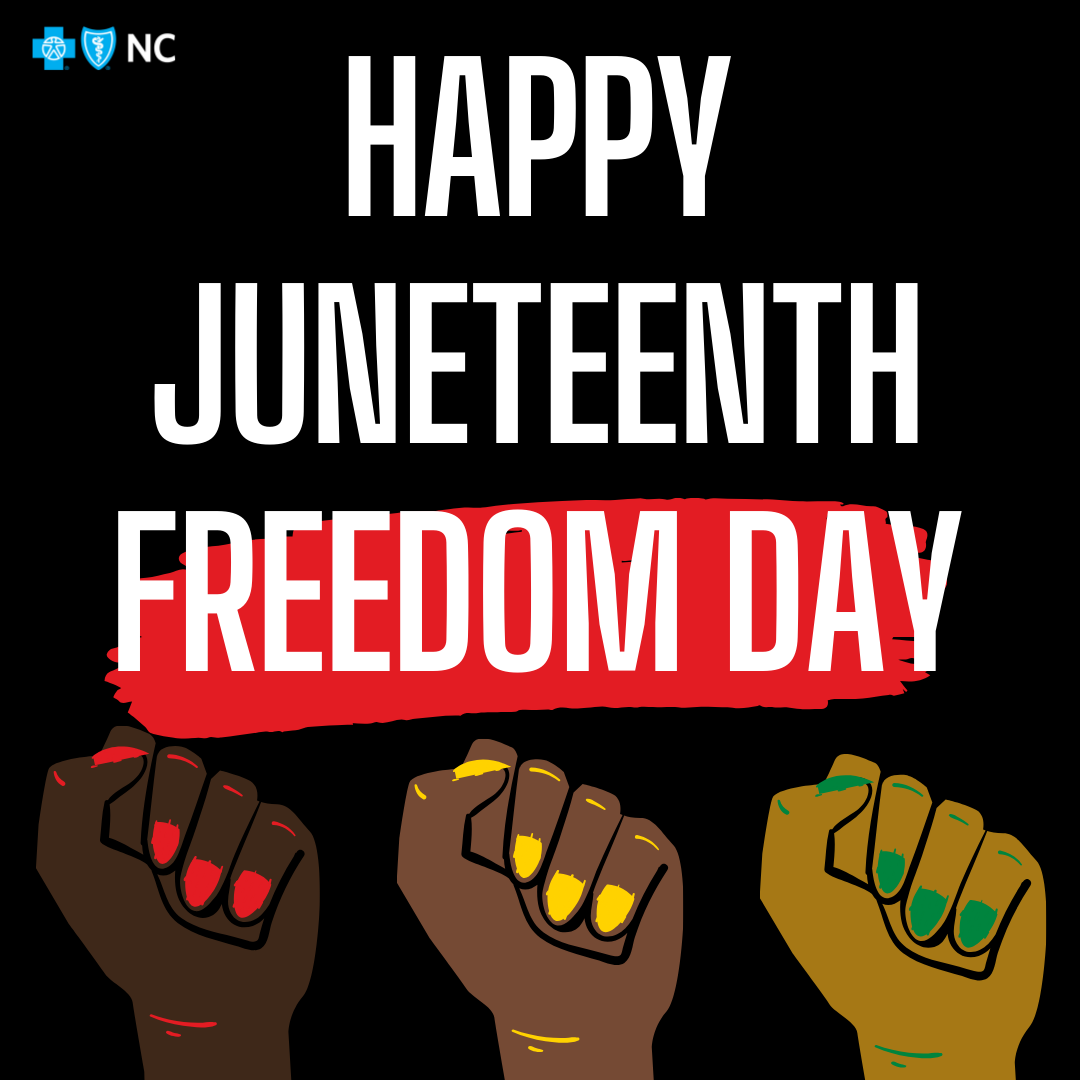 "Graphic reads ""Happy Juneteenth: Freedom Day"""