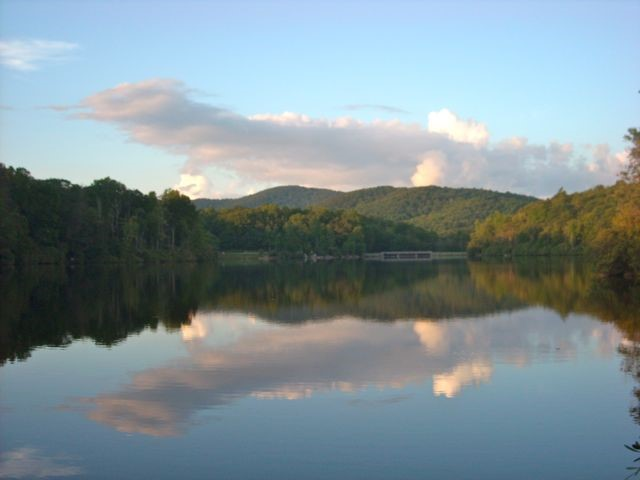 View of Grandfather Mountain over Price Lake