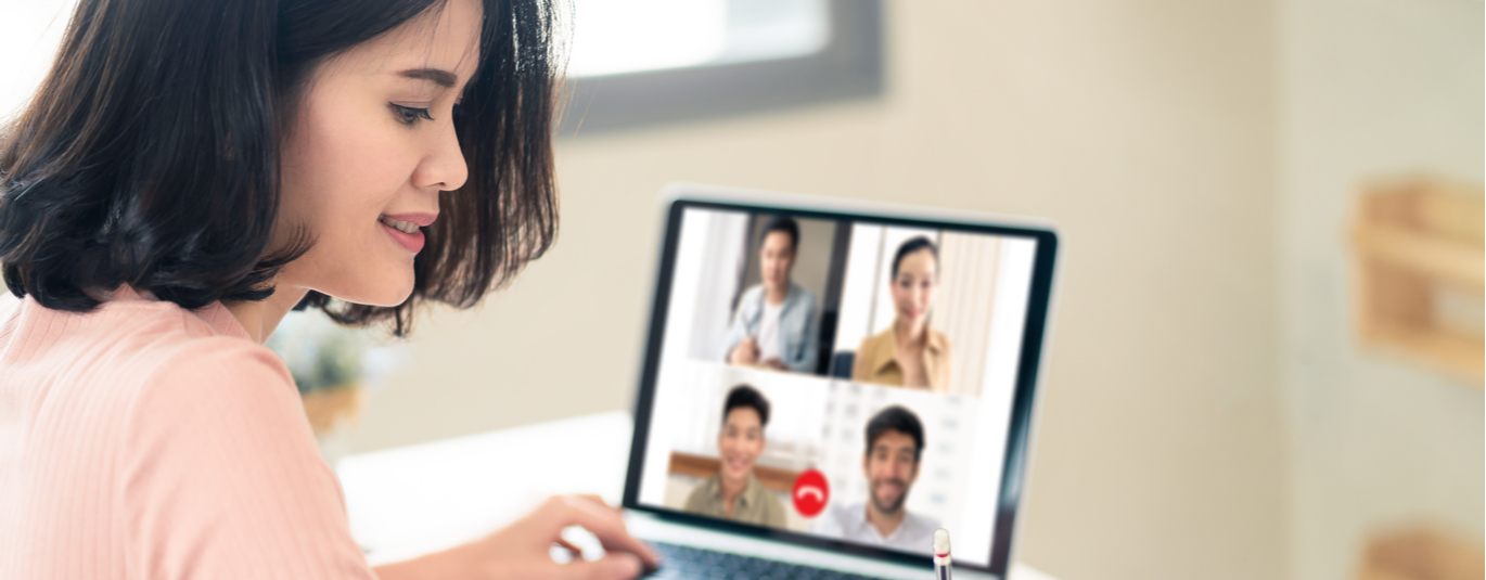 Woman on video chat on laptop