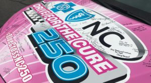 "Pink race car with Blue Cross NC logo and ""Drive for the Cure"" printed on the hood"