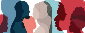 Silhouette profile group of men and women of diverse culture.
