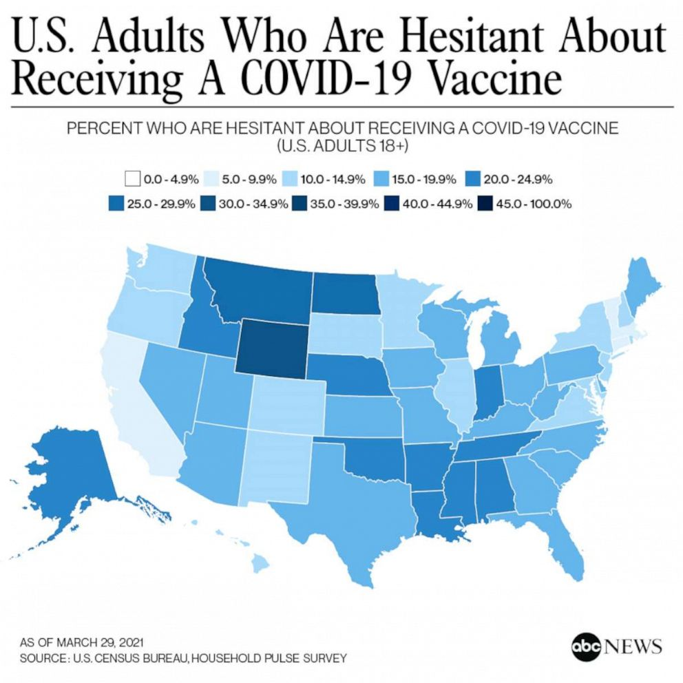 Map shows vaccine hesitancy by state, with North Carolina coming in at 15%-19.9% of adults hesitant to get a covid-19 vaccine