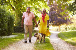 older couple walks dog while holding hands and laughing