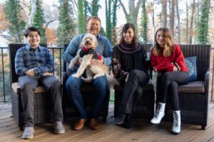 Jennifer Grady with her husband, son, daughter, and dog