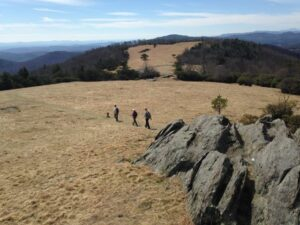 Group of hikers crossing an open meadow with the NC mountains on the horizon