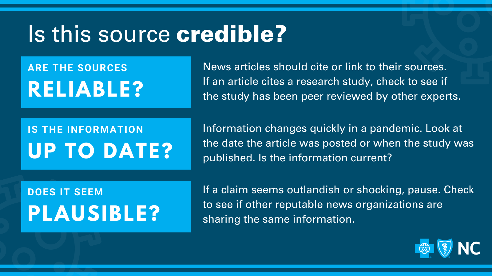 """Graphic reads """"is this source credible?"""" Are the sources reliable? Is the information current and up-to-date? Does it seem plausible? Ask yourself these questions when faced with a source you are questioning."""