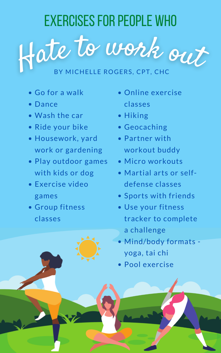 Graphic lists some of the exercise ideas listed in the article text